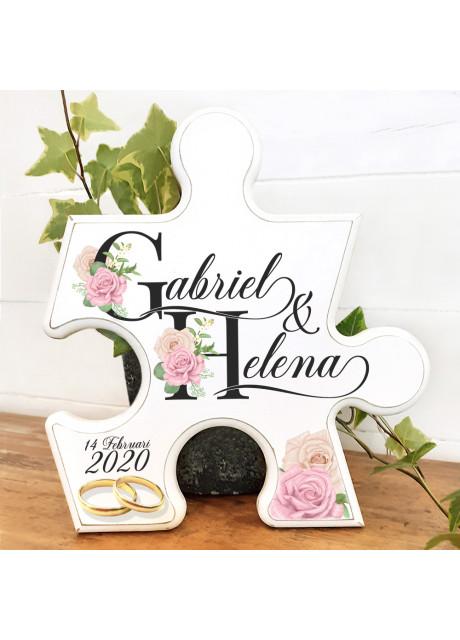 Pusselbit - Bröllopstavla Bokstäver med rosor