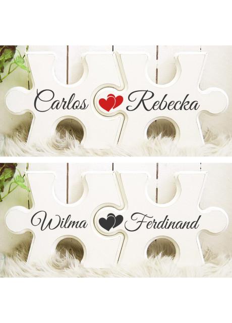 Pusselbitar med valfria namn - med röda/svarta hjärtan