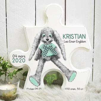 Pusselbit - doptavla grön kanin