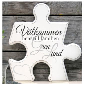 Pusselbit - Välkommen - Valfria familjenamn ingår