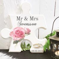 Pusselbit - Mr & Mrs med rosa rosor